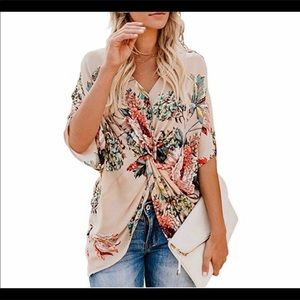 Tops - Sleeve V neck Ruched Twist Floral Print blouse